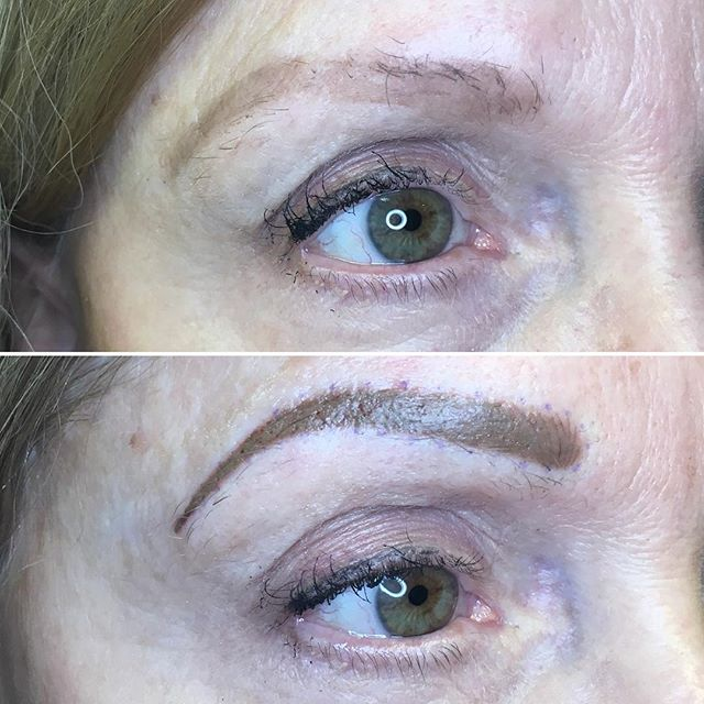 Super pretty powder brow. Will lighten up when healed to a nice blonde.
