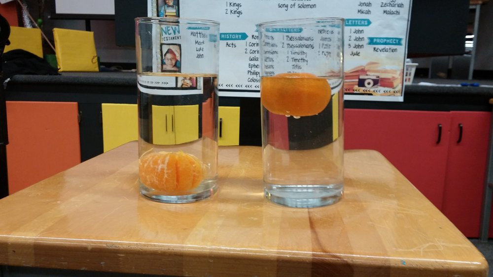 We put two clementines in water...one was peeled and one wasn't. The one that wasn't peeled was the one that floated, even though it had more weight.  The kids explained the how this is like God this way: God is like the peel, he surrounds us and keeps us from sinking when we are going through difficult times.  Our lesson was all about how we can depend on God during our ups and downs.
