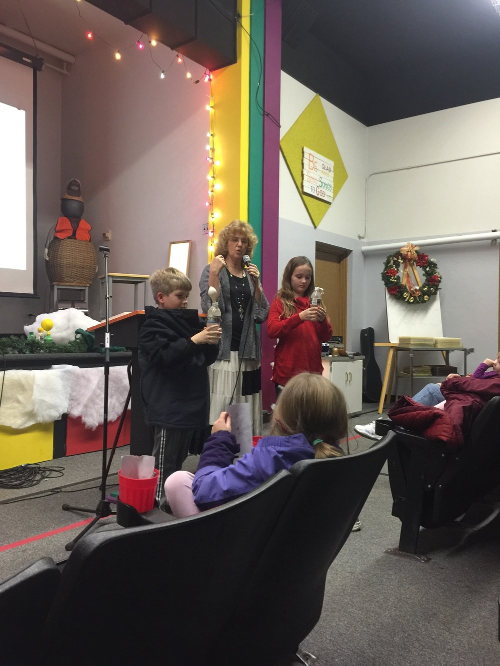 We had kids dump yeast into water and watched to see what happened. Only one balloon started to inflate. That was because it had sugar in it, to help activate the yeast. But the balloon was slow to inflate. This related to the Feast of Unleavened Bread and how the Israelites had to leave the land in a hurry.