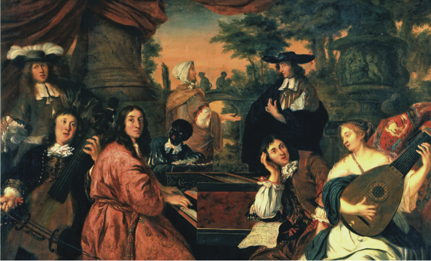 A musical party by Johannes Voorhout (1674). Buxtehude is playing the viola da gamba (according to keral Snyder).