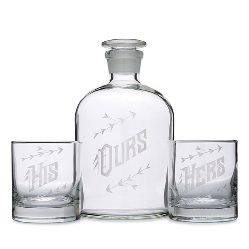 "For the happy couple: ""Ours"" Decanter Set (His/His, Hers/Hers, His/Hers glasses) // Love & Victory"