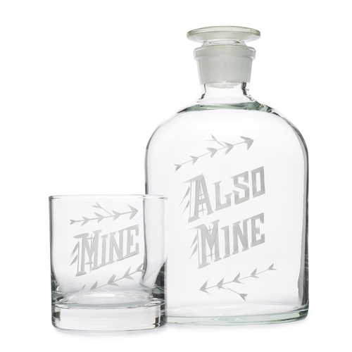"For the single guy/gal: ""Mine/Also Mine"" Decanter Set // Love & Victory"
