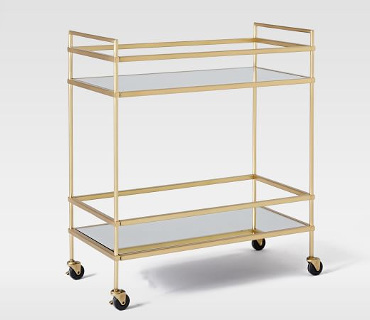 Brass & Mirror Bar Cart  // West Elm
