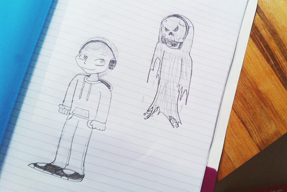 Evan, self-portrait, thinking of Halloween.