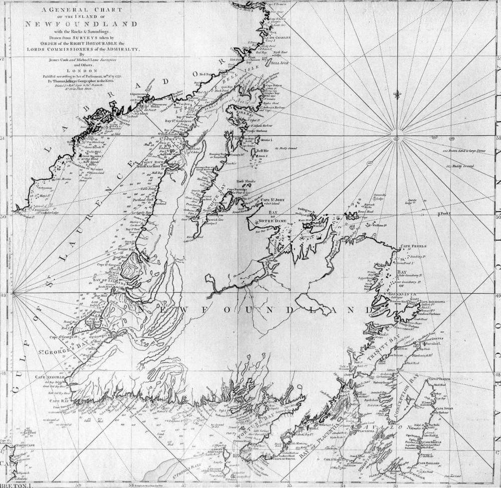 James Cook's  1775 Chart of Newfoundland , showing Labrador to the north, unknown and vast and beyond the reach of the map, which is just how it feels.