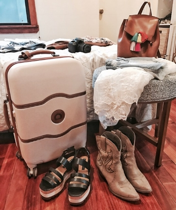 Packing: Delsey Chatelet Suitcase, Zara Flatform Sandals, Very Volatile Cowboy Boots, Rebecca Minkoff Backpack, LF Kimono.
