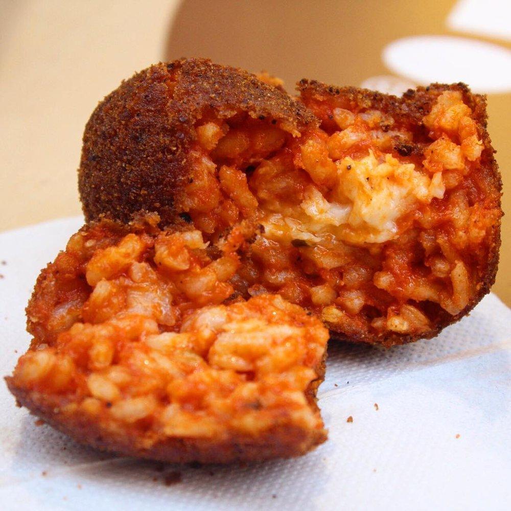 Suppli @ Roscioli's   Fried ice ball with tomato sauce and mozzarella