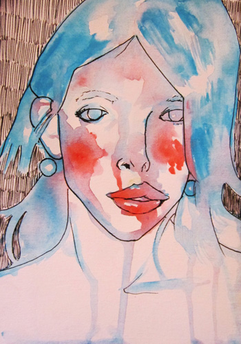 Woman #1, Watercolor and Ink