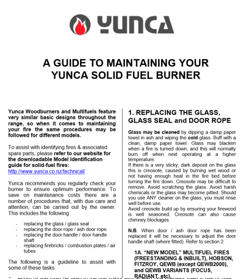 Click on the image above to download and view the guide to maintaining your Yunca Solid Fuel Burner