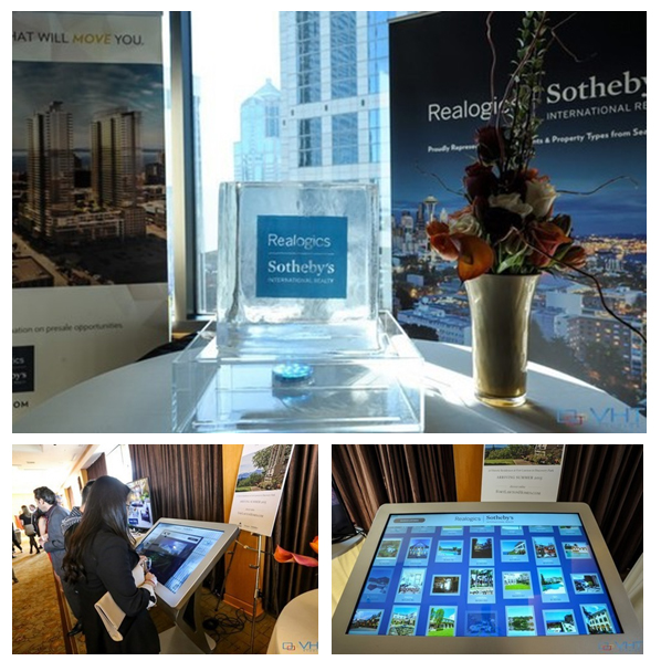PICTURED ABOVE: The RSIR exhibit featured a collection of residential offerings including a world of opportunity through one of the only table top tablets designed for touring global real estate.