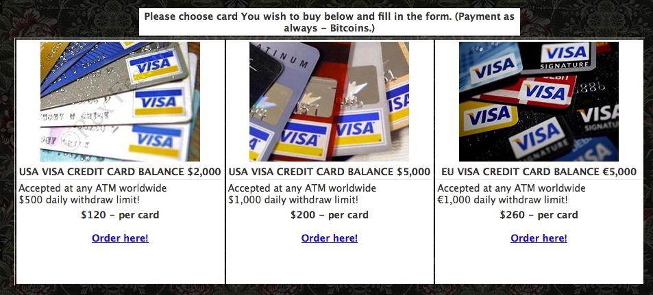 Dark Web site specializing in stolen credit cards.