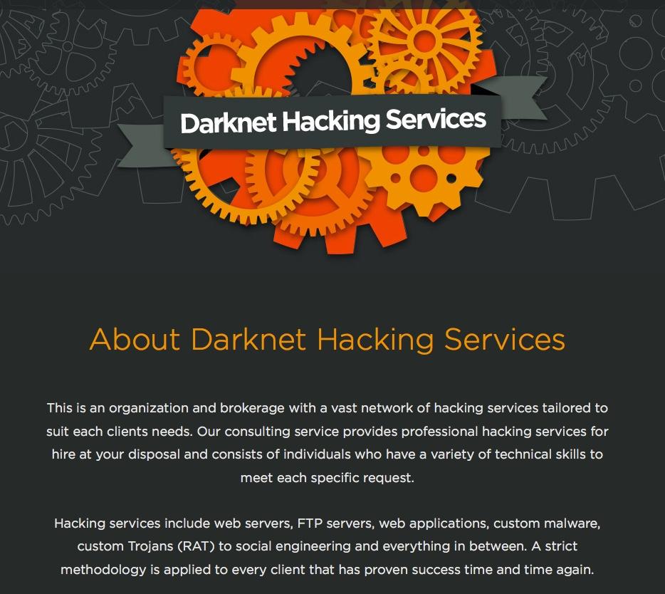 Dark Web professional hacking service.