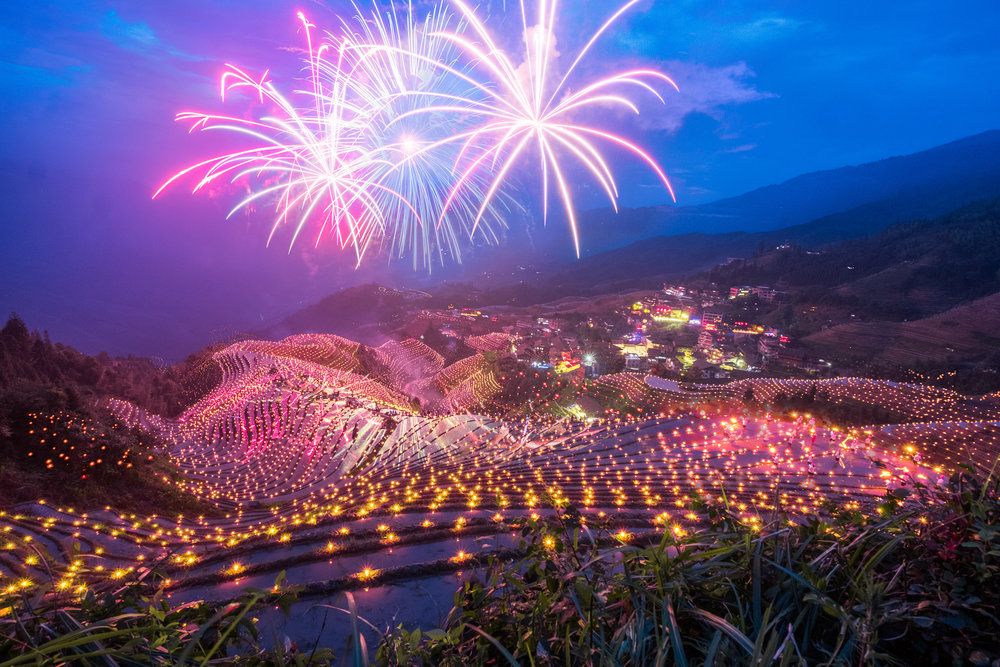 Longji Rice Terrace China Fireworks