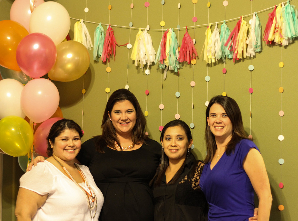 Party girls and the guest of honor; :) Backdrop put together by yours truly.
