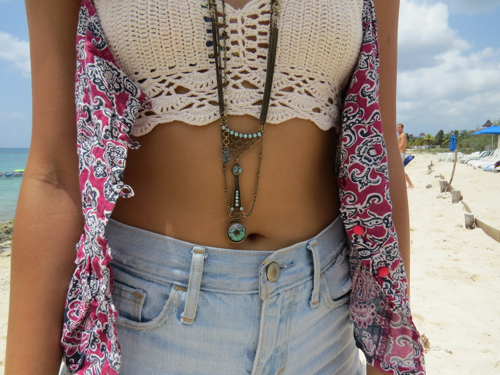 Free People    Dreamer Stone Pendant ,  Free People    Hamsa Lariat ( similar  here),  Billabong  Peasant Top ( similar here  ) , Crochet Crop Top ( similar here )  (similar here )