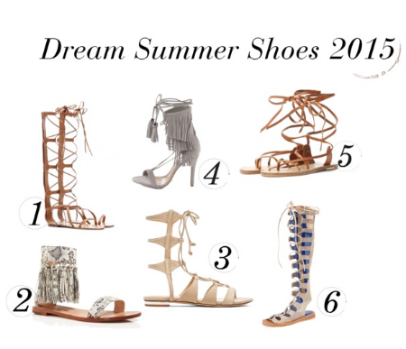 1.  Valentino     Leather Gladiator Sandals  2.    Loeffler   Randall   Fringe Tassel Flat Sandals  3.    Schutz     Erlina Sandal  4.    Schutz   Kija    5.    Isabel Marant   Amy Leather Gladiator Sandals     6.    Jeffrey Campbell  ' Olympus' Gladiator Sandal
