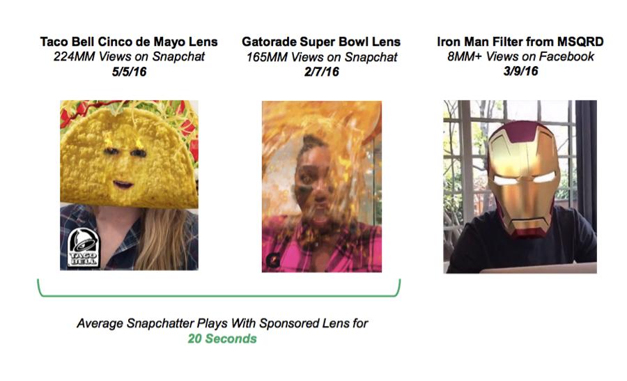 Snapchat branded lenses