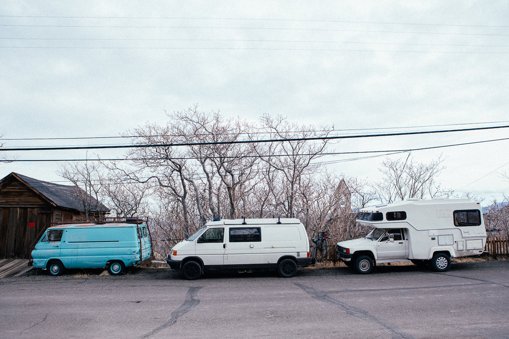 I found some fellow van dwellers up the street.  Both these rigs were fully awesome.