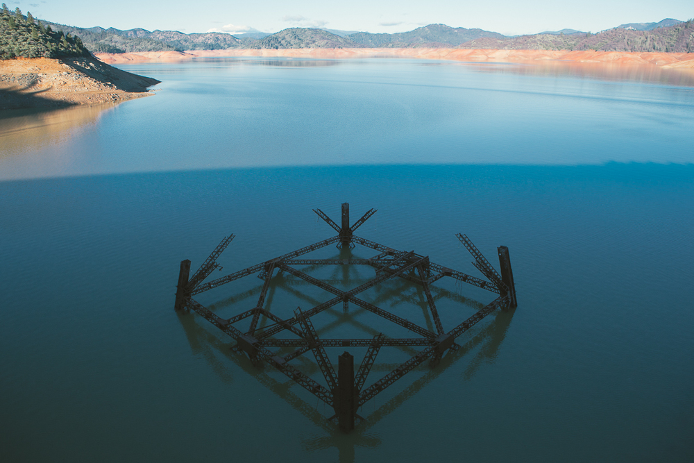 This structure is supposed to be 50-100' under the water level.  It was the base to a tower that helped build Shasta Dam.  Now it's the subject of my fine art piece.