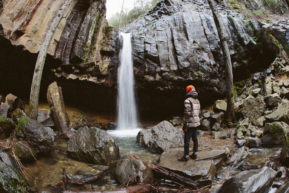 Day 27, mile 2230.   Hedge Creek Falls in Dunsmuir is cool.  Though it's not a huge waterfall, the cave behind it is surreal.