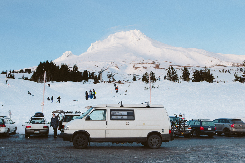 I had to revisit Timberline on Mt Hood.  I've been in this parking lot probably over 1000 times, and this was the first without a snowboard.
