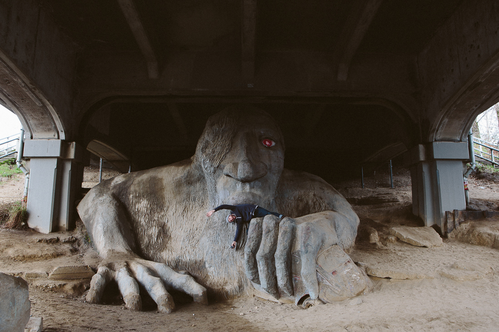Under the Fremont Bridge lies this troll.  I went to get a self-portrait and it tried to eat me!!