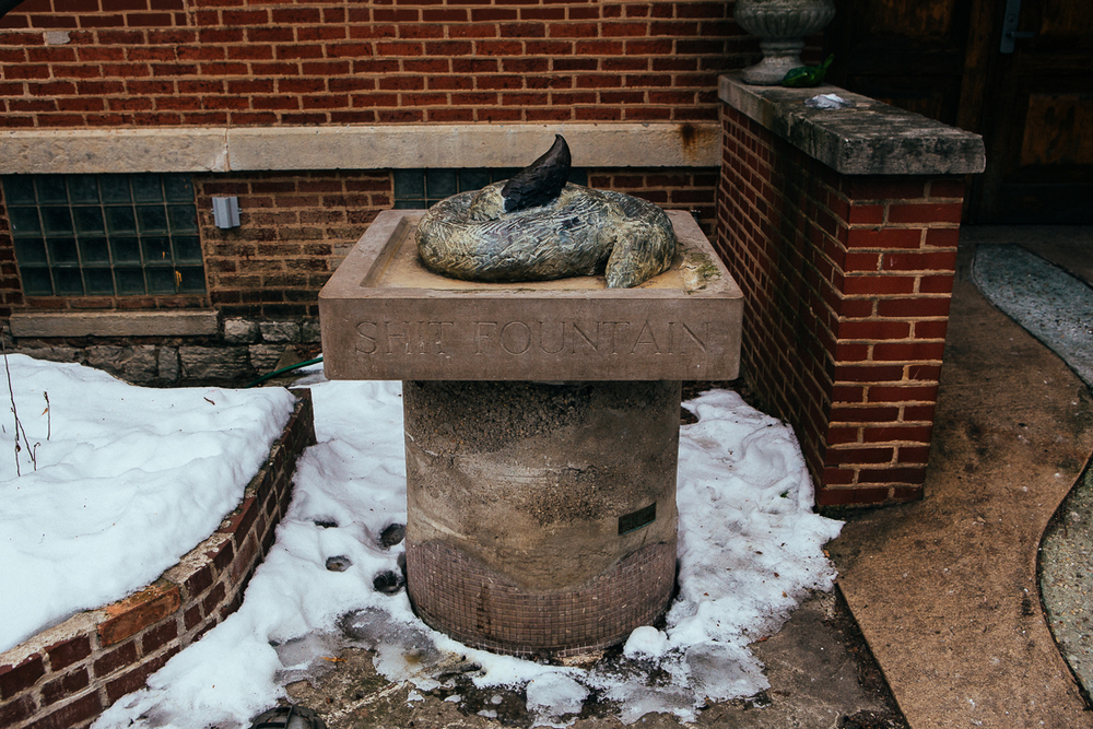 The artist who lives here knew he couldn't make a good fountain, so he just aptly named it.