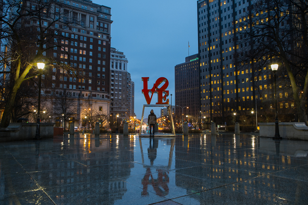 A light rain made a lovely reflection at Love Park.