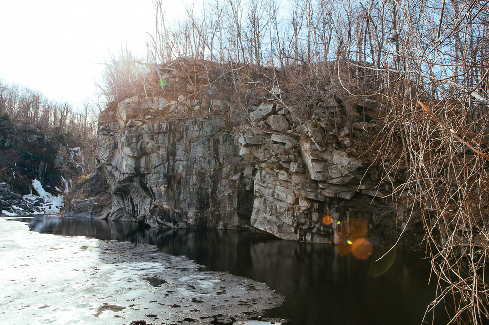 There's an old abandoned rock quarry in Becket, which was a nice little hike and could be a great swimming spot in the summer when the water isn't iced over.