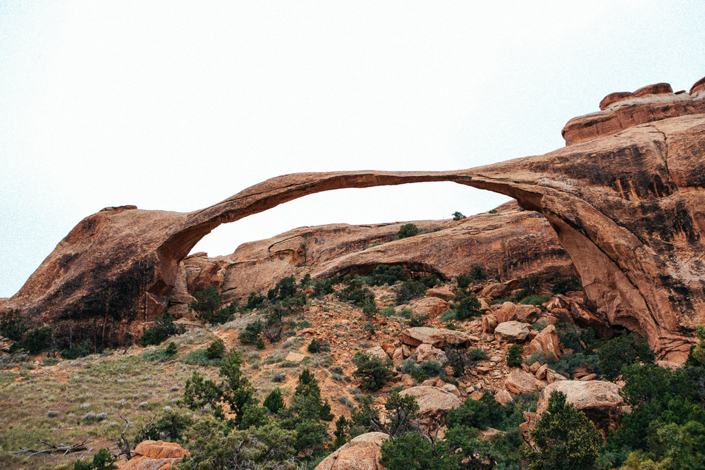 This thin bridge is the Landscape Arch. It's so amazing that Earth created this without human influence.