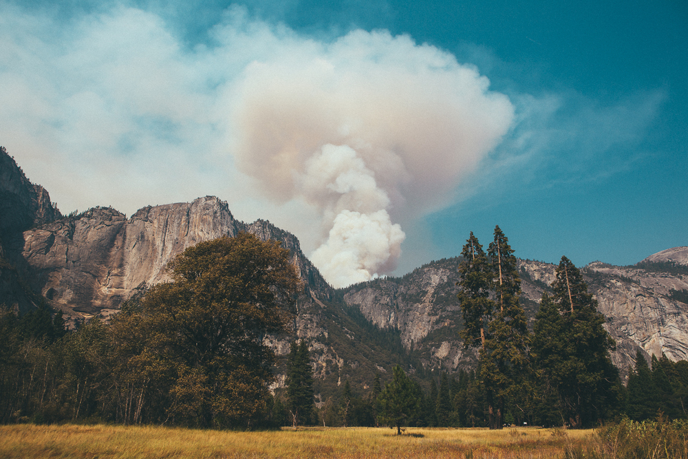 Right when I arrived in the beautiful Yosemite Valley, I saw this ugly plume of smoke quickly rising over the horizon.