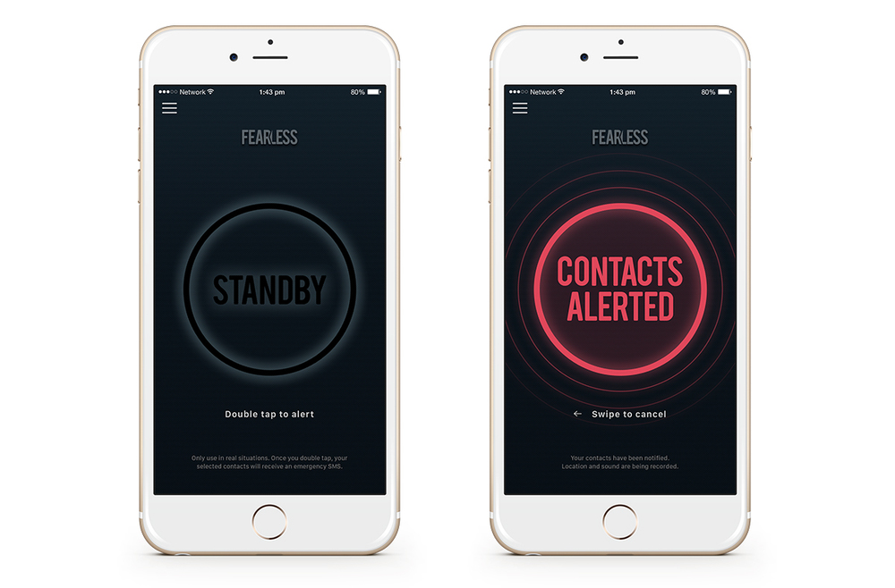 The key screens for the iPhone app