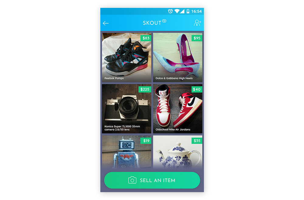 User can sell items in the Skout section of the app ...