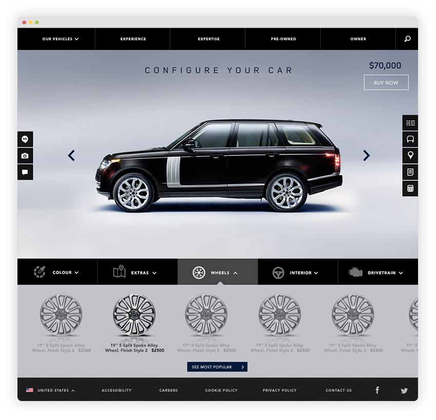 Users can customise the car's specs online including colour, extras, wheels, interior and drivetrain.