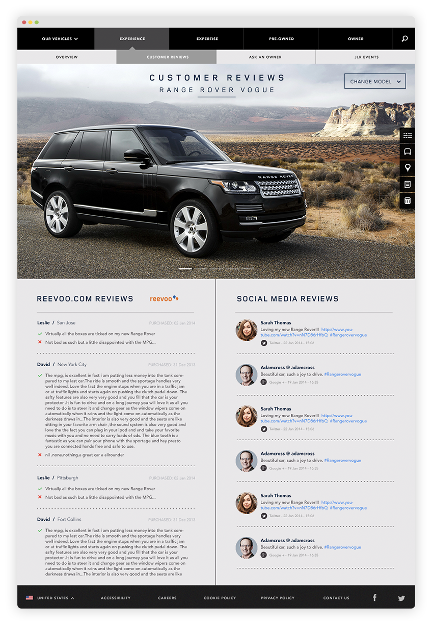 Reviews from other Landrover customers are displayed from Revoo.com and other social media platforms.