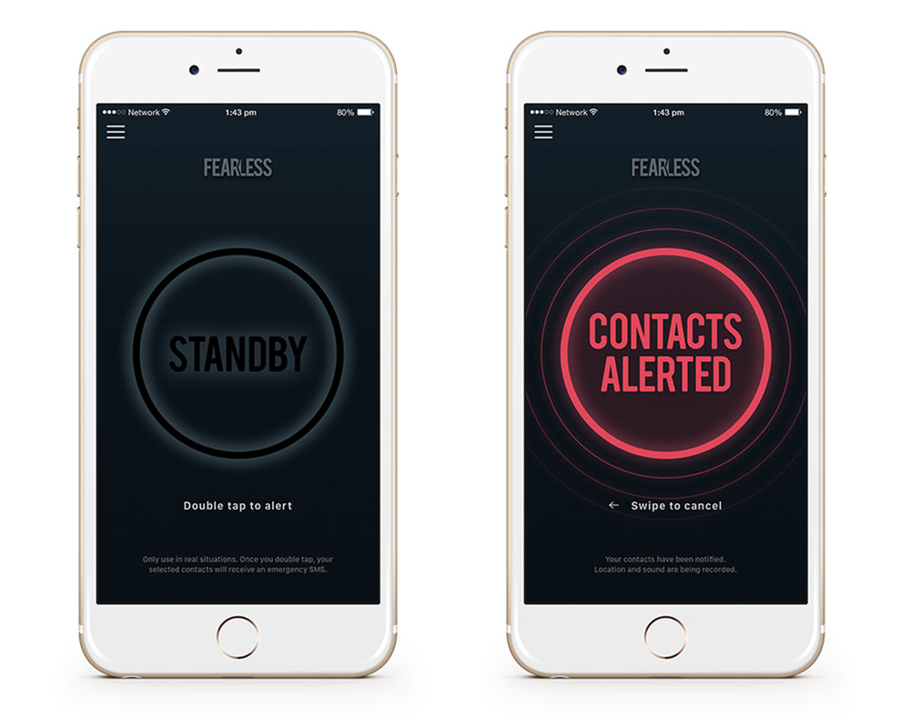 The key screens for the iPhone app.