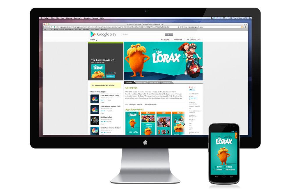 Google Play Lorax download screen.