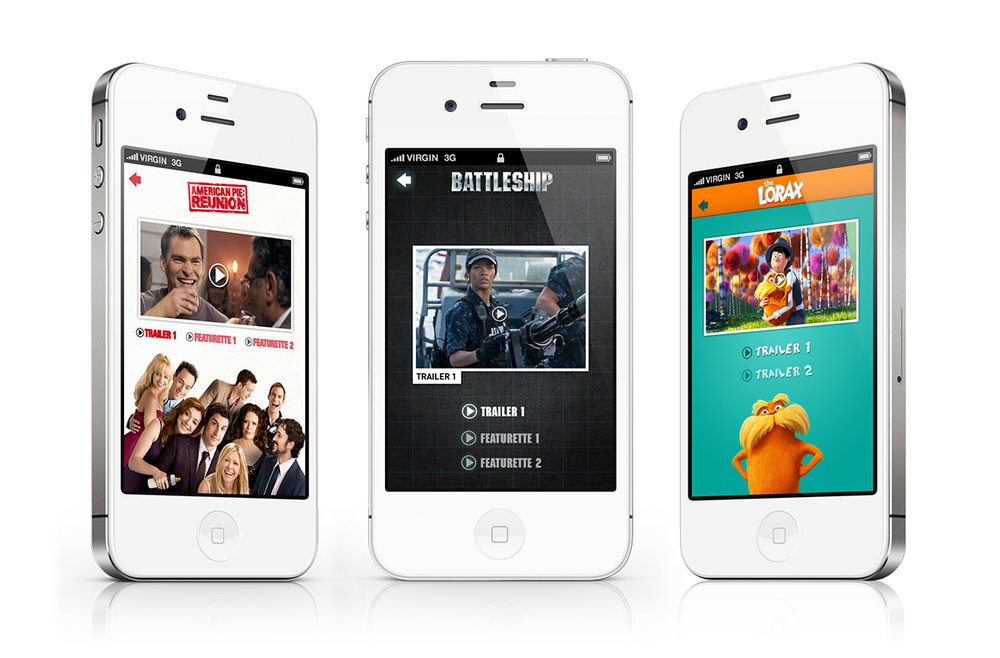 Trailer screens for each of the iPhone apps.