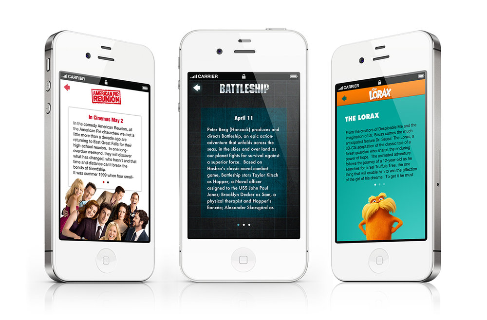 Story screens for each of the iPhone apps