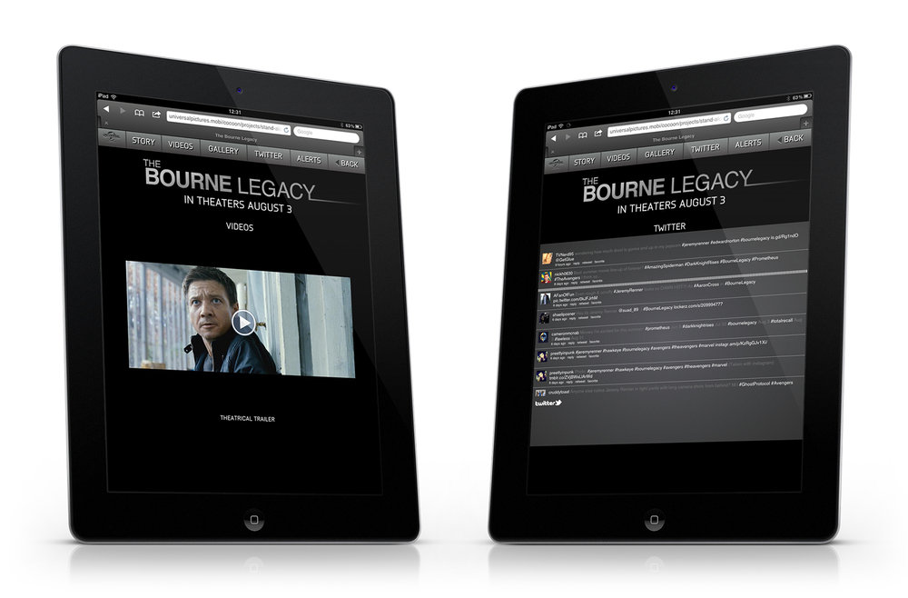 iPad: movie trailers and Twitter screens.