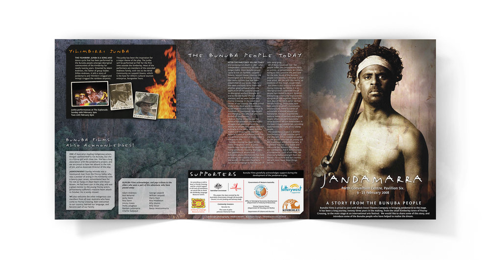 A4 6-page brochure for stage play about Aboriginal freedom fighter Jandamarra. Designed in Perth, 2008.