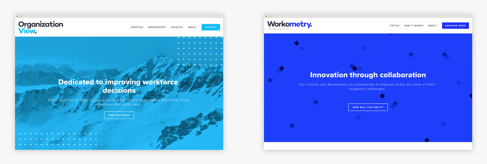 The redesigned homepages for OrganizationView and Workometry.