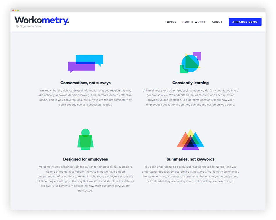 The abstract, geometric design style and colour palette is carried across from the Insights article images to the iconography used elsewhere on both sites.