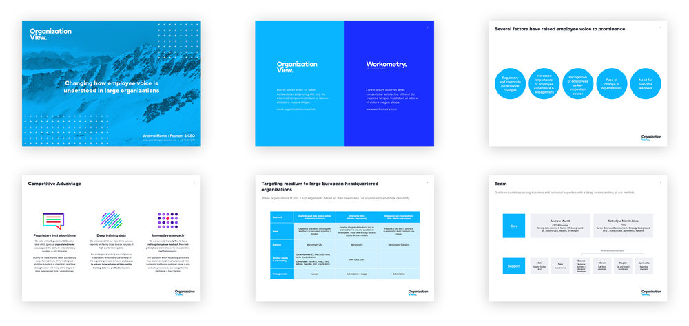 Some screens from the OrganizationView investor deck.
