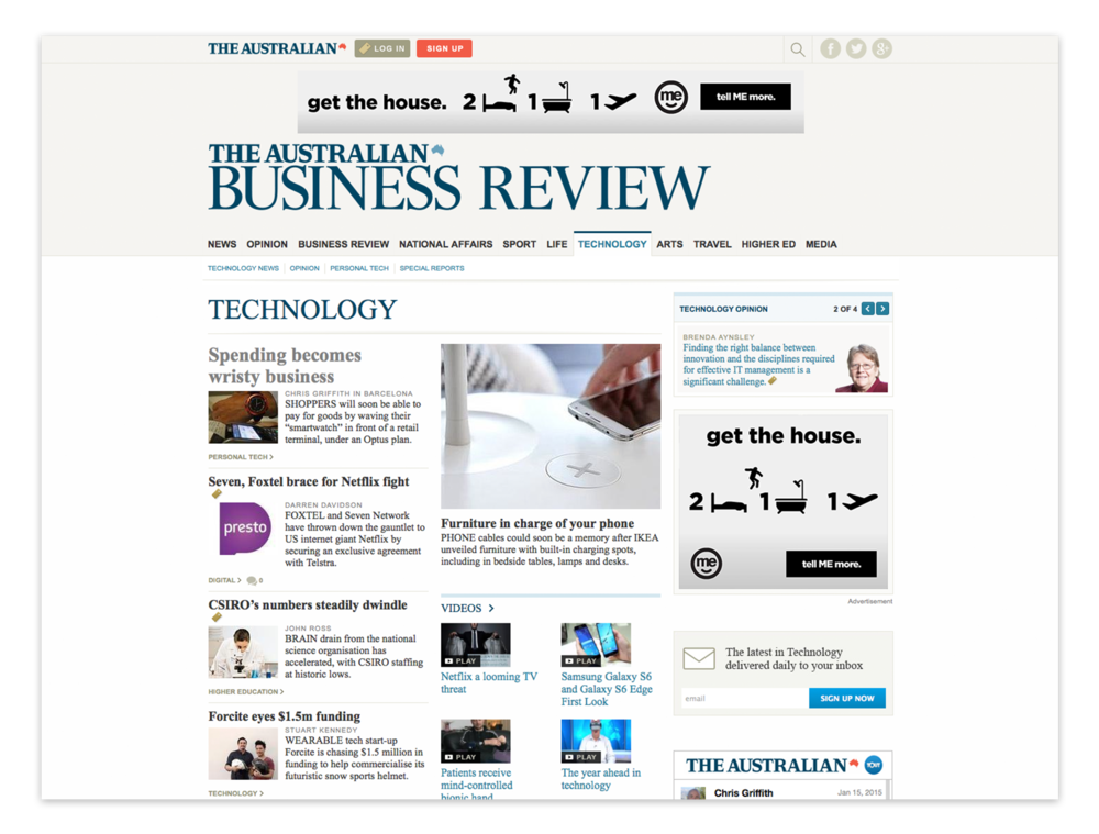 MREC and leaderboard banner ads on The Australian Business Review.  (Part of the  retail campaign ).