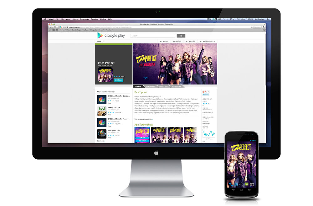 Google Play Pitch Perfect download screen.