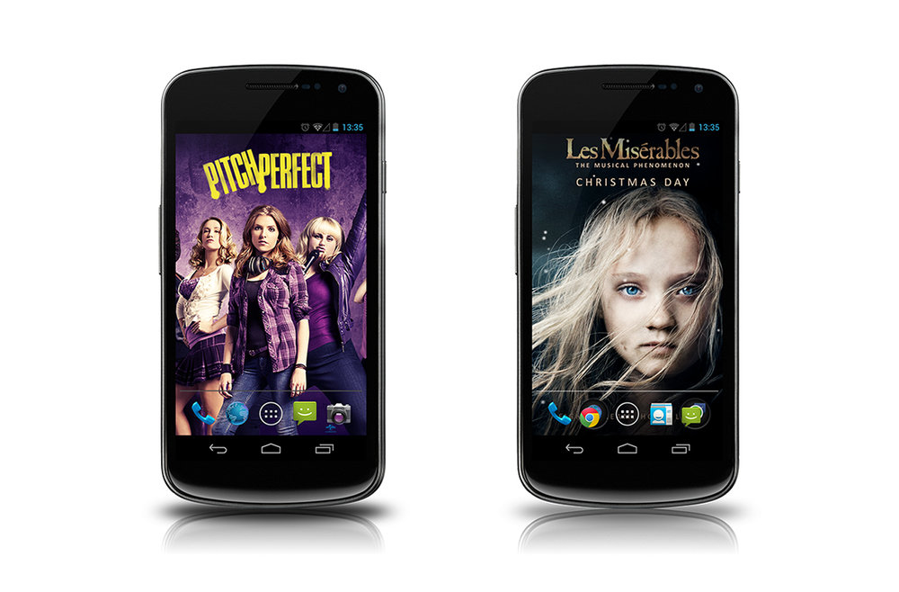The main wallpaper screens for each of the apps.