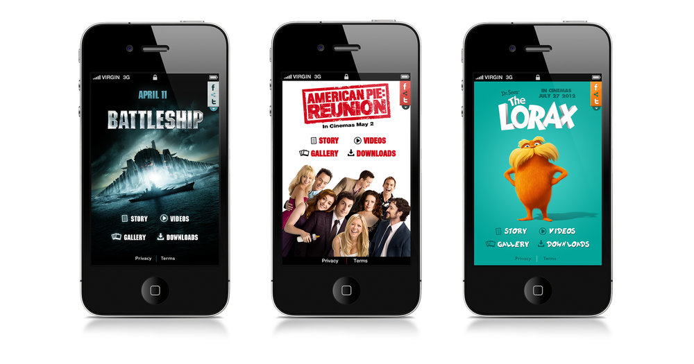 iPhone homescreens for the three apps: Battleship, American Reunion and The Lorax.