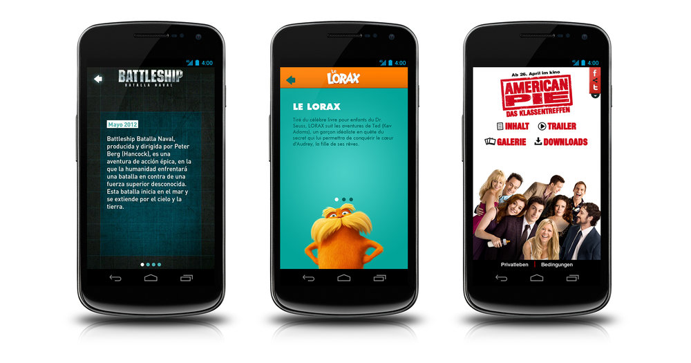 Android app screens: Battleship story screen in Spanish, The Lorax story screen in French, and American Pie homescreen in German.