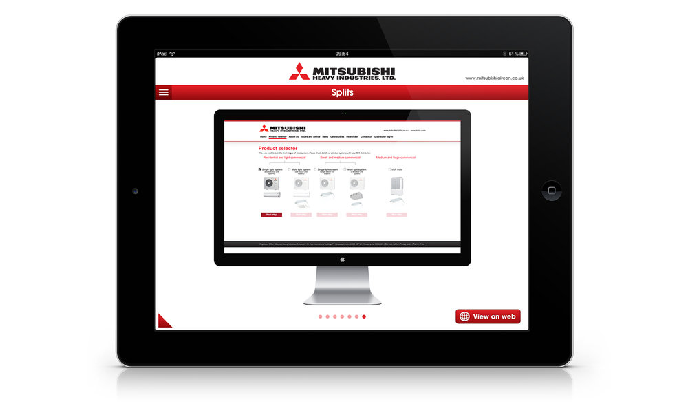 Product selector screen: showing how customers can browse different models on the Mitsubishi website.